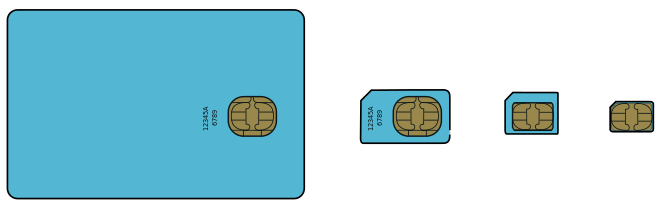 Standard SIM (1FF) - Mini SIM (2FF) - Micro SIM (3FF) - Nano SIM (4FF)