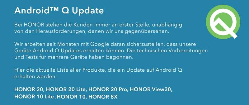 Ezek a Honorok kaphatnak Android Q frissítést