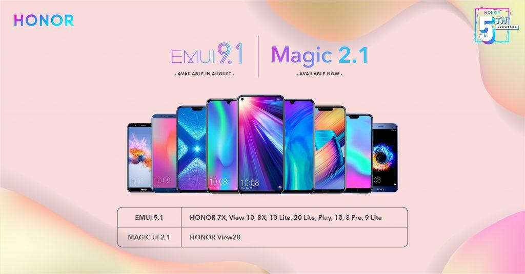 Ezek a Honor modellek frissülnek EMUI 9.1-re