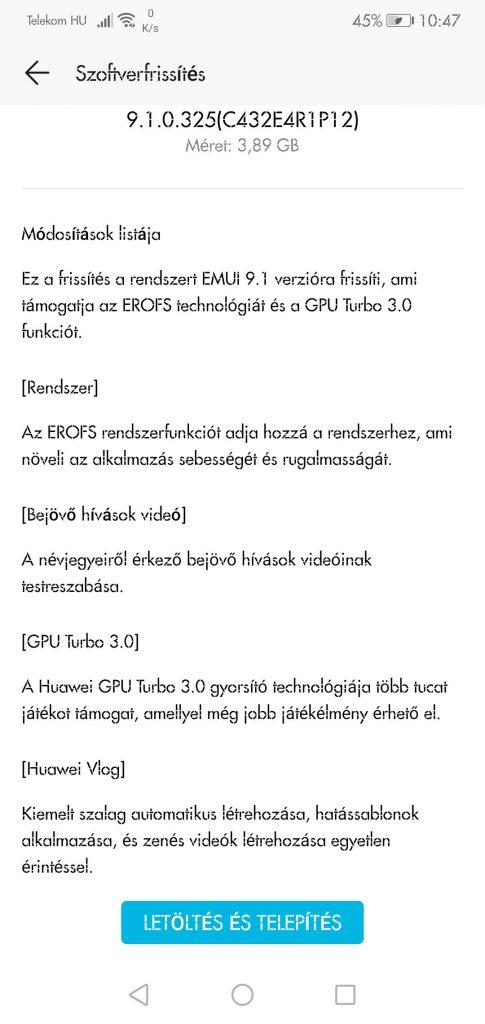 Honor 10 EMUI 9.1 frissítés